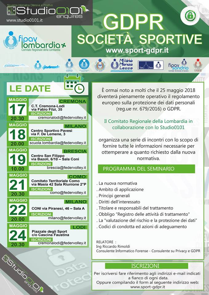 Seminario GDPR Fipav Lombardia