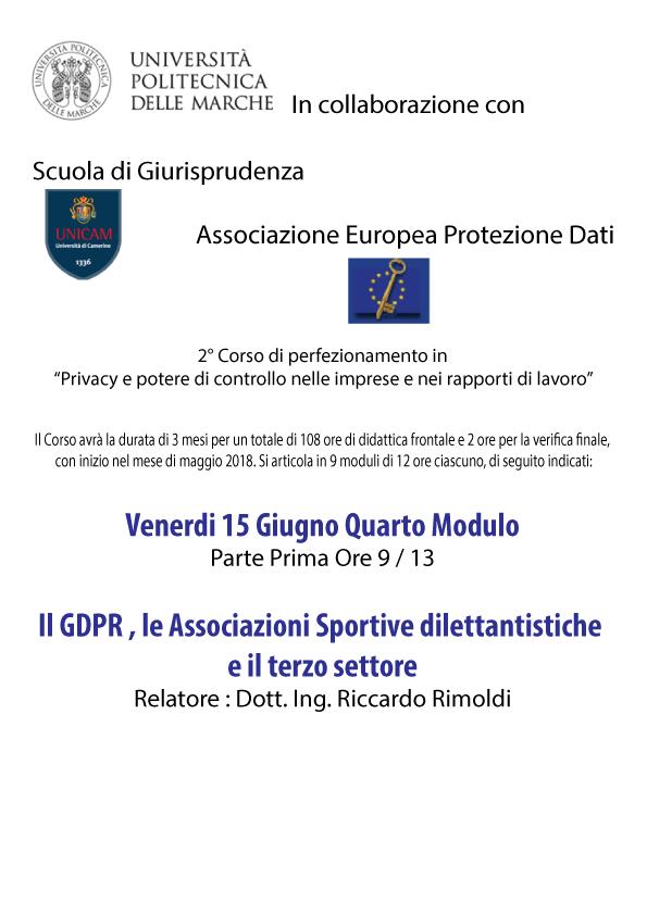 Seminario Università Politecnica delle Marche . Il GDPR, le Associazioni Sportive dilettantistiche e il terzo settore.